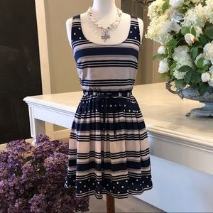 NWOT Maison Jules Navy and Ivory Dress